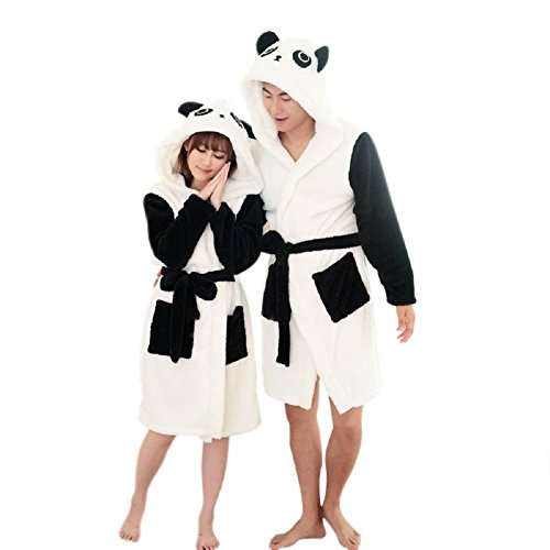 Landove Damen Bademantel, Animalprint Panda
