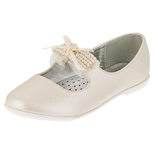 4d4dffdc3907fc Giardino Doro Festliche Mädchen Ballerinas Schuhe mit Echt Leder Innensohle  M413pws Perlmutt Weiß 35