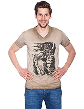 Krüger - Herren Trachten T-Shirt in Braun, Seppelhose (91280-7)
