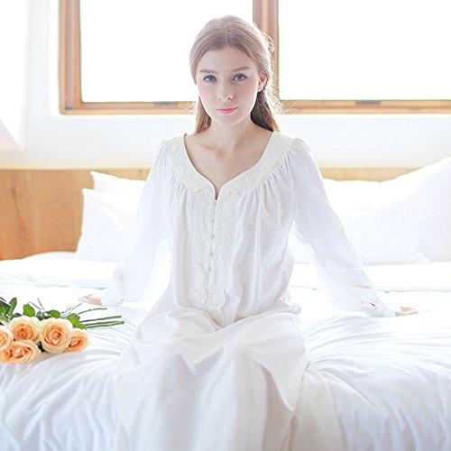hoom-royal-retro-coton-manche-longue-dentelle-princesse-pyjama-chemise-sexy-accueil-services160m-bla