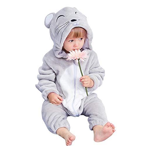 NELNISSA Babyspielanzug Winter Reißverschluss Schneeanzug Cartoon Tier weich mit Kapuze Overall (Ratte ()