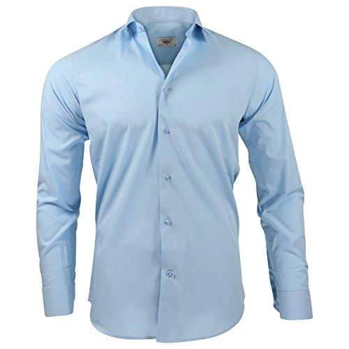 CAPTAIN Slim Fit Herren Hemden (in 24 verschiedenen Farben) Langarm-Hemd 100% Baumwolle (L, Hellblau)