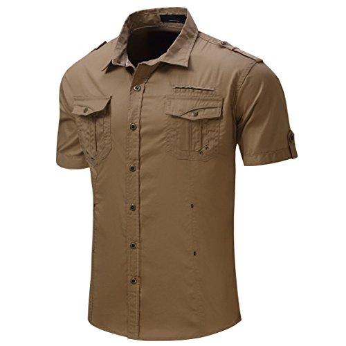 Herren Klassisch Kurz Hulse Armee Stil Formell Hemd T-Shirt Khaki