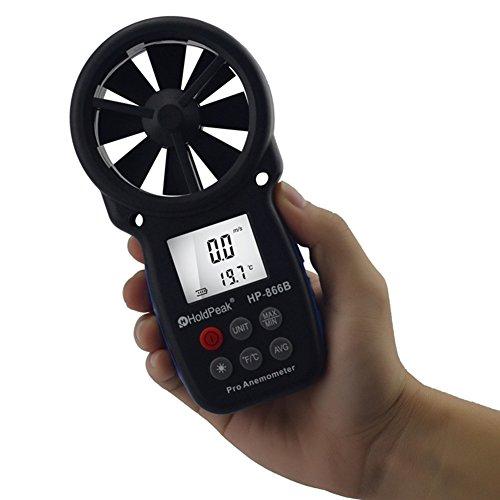 etbotu Mini LCD Digital Anemometer Thermometer Windgeschwindigkeit Air Velocity Temperatur Mess-Werkzeug anemometro mit Hintergrundbeleuchtung