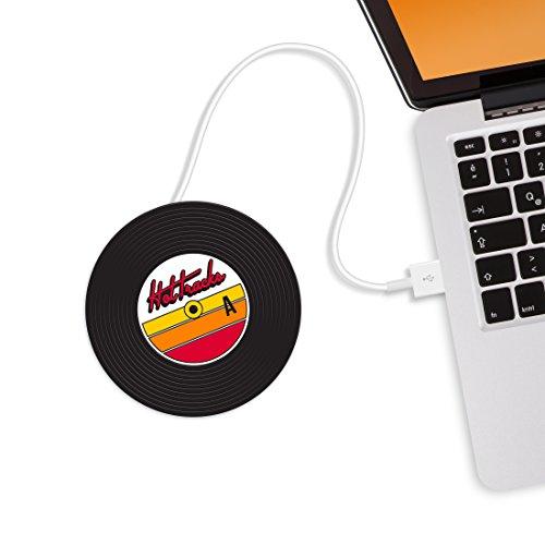 MUSTARD - Hot Tracks Cup Warmers I USB-Tassenwärmer I USB-Gadgets I Büro I Becherwärmer I elektrisch I Kaffeewärmer I USB-Getränkewärmer I Warmhalteplatte I Tassenuntersetzer I Schallplatte - Schwarz