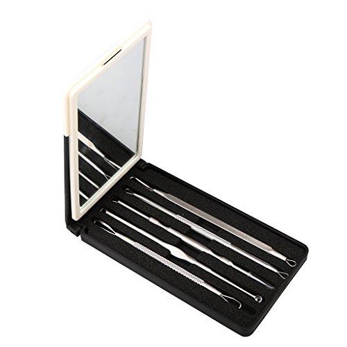MagiDeal 5pcs Aiguilles Extracteur de Points Noir Pince Retirer Tête Noire Acné Comédons + Boitier de Rangement avec Miroir Blanc Vert Violet - miroir blanc