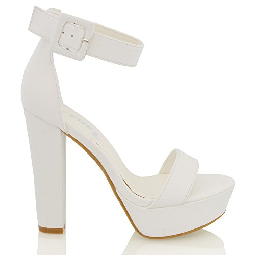 Essex Glam Sandalo Donna Pelle Sintetica con Plateau e Cinturino Caviglia Bianco Sintetico