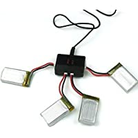 YUNIQUE DEUTSCHLAND ® 3.7V 650mAh Batterien (4PCS) mit in 1 USB-Ladegerät (1PC) für Syma X5 X5C X5A X5C-1 X5SW X5SC RC Quadcopter