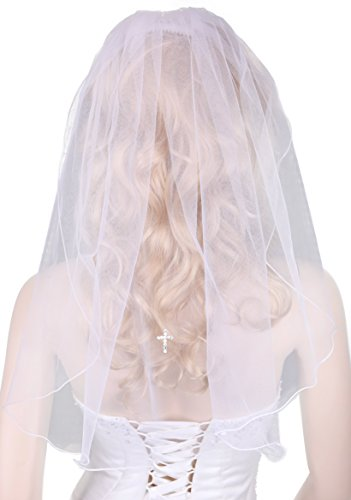 Flora White Veil with Diamante Cross for Girl's Communion Dress,23
