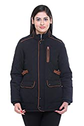 Trufit Full Sleeves Solid Womens Black Quilted Cotton Parka Jacket with Patch Pockets
