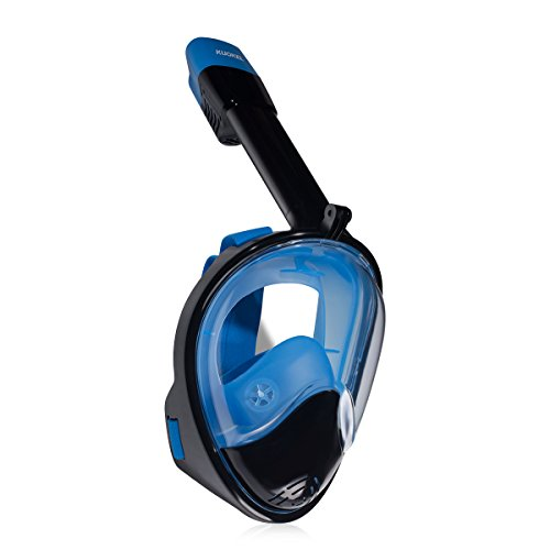 KUOKEL D2 - Tauchmaske Vollgesicht Schnorchel Maske (mit 180 Grad Panorama, Anti-Fog Anti-Leck, mit Gopro Kamera Halterung, Taucherbrille für Erwachsene und Kinder) (schwarz-blau, L/XL)