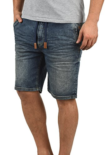 Blend Bartels Herren Jeans Shorts Jogger-Denim Kurze Hose Mit Elastischem Bund Und Destroyed-Optik Aus Stretch-Material Slim Fit, Größe:XL, Farbe:Denim middleblue (76201)