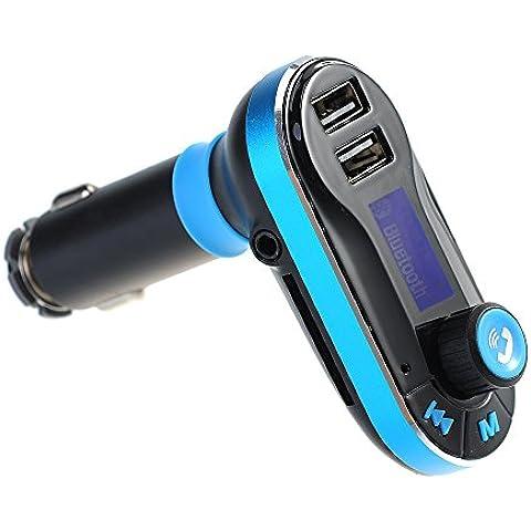 Transmisor Bluetooth de FM y Música para Coche, Aporta Manos Libres y Cargador de Doble USB Apto con iPhone 6 Android Smartphones Bluetooth