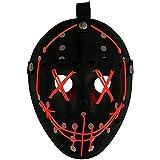 Mallalah Máscara de Halloween LED Light Up Purge Mask Jason Scary Máscara para Fiesta de Disfraces