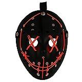 Mallalah Máscara de Halloween LED Light Up Purge Mask Jason Scary Máscara para Fiesta de Disfraces Máscaras para Adultos Juguetes para Fiestas Festival Cosplay Disfraz de Halloween (Rojo)