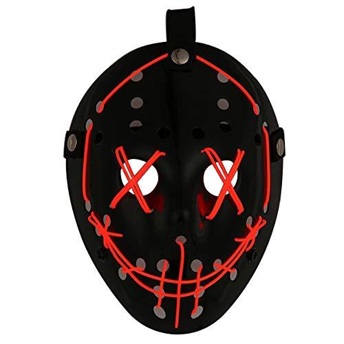 (Comtervi Leuchten Maske LED Jason Maske Halloween Scary Maske Rave Halloween Kostüme)