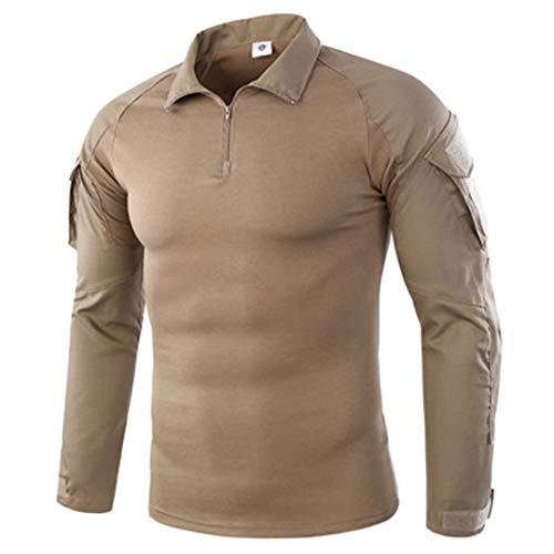 Männer Combat Training Langarm Taktische T-Shirts Armee Camping atmungsaktive T-Shirts Khaki XXL - Tan Khaki Cord