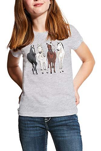 Ariat - Camiseta de Manga Corta para niña, Color Blanco, XX-Large