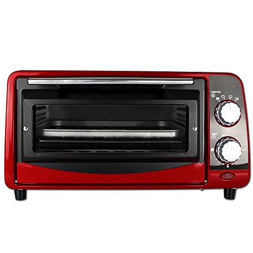 Backofen - Pizzaofen - Ofen - Backautomat 9 Liter - Mini Backofen 800W mit Farbauswahl (Rot)