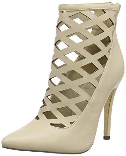Boohoo Lattice Heeled Shoe, Sandales femme Beige (Nude Pu)