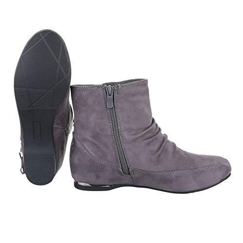 Quente Cinza Boots Escorregar Bloquear Ankle Femininos alinhado Zip Projeto Ital Calçados Botas Conforto Calcanhar Cx5zqSn5