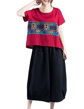 La Mujer Étnica De Tops De La Camiseta De Manga Corta Túnica Estampado Geometrico