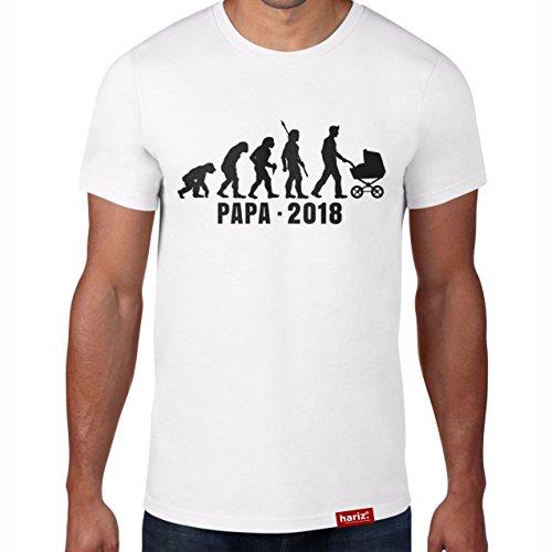 Papa 2018 Evolution // Original Hariz® T-Shirt - 16 Farben, XS-4XXL // Männer | Geschenk | Geburtstag | Vatertag | Weihnachten #PAPA Collection White M (Halloween-t-shirts Schwangere)