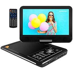 """APEMAN Lecteur DVD Portable 9,5""""avec Ecran Pivotant Batterie Rechargeable Intégrée Carte SD et USB Prise en Charge Directe Formats AVI/RMVB / MP3 / JPEG (Noir)"""