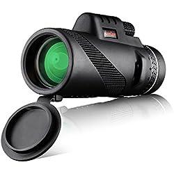 MeeQee 10X42 Telescopio monocular de doble foco, Prism Film Optics, Compatible con trípode, Impermeable, Baja visión nocturna, Alcance monocular para observación de aves / Caza / Camping / Senderismo / Golf / Concierto / Vigilancia