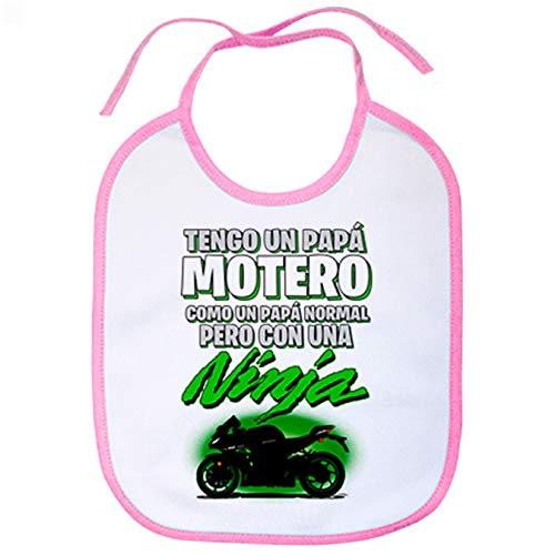 Babero tengo un papá motero moto Ninja silueta - Rosa