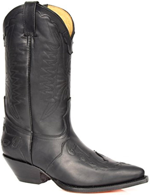 A1 FASHION GOODS Herren Schwarz Leder Cowboystiefel Rutsch auf Spitz Zehe Stich Entwurf Schleifmaschinen Stiefel