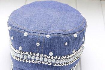 ZHANGYONG*Primavera perla diamond cowboy Ms. caubeen marea del tappo , regolabile , Denim luce blu