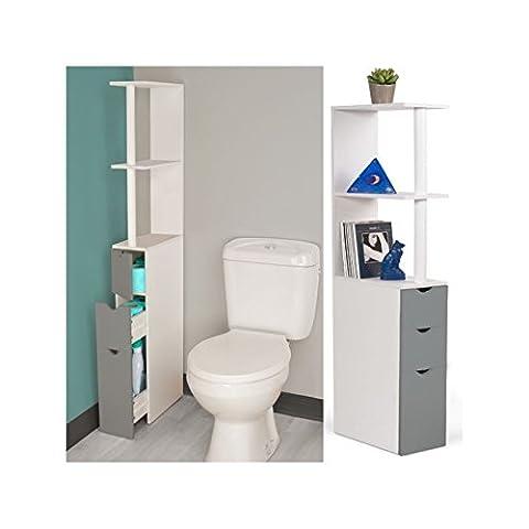 IDMarket - Meuble WC étagère bois blanc et gris gain de place pour toilettes 3 portes