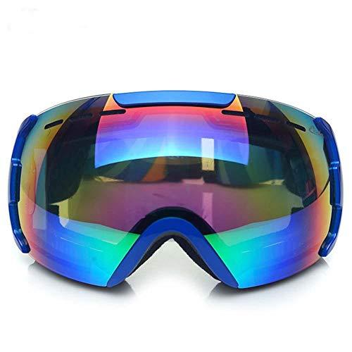 XYQY Brille Unisex 'Fit Over Glasses' UV-Schutzbrille Anti-Explosion Dual-Optic Sphärische Skibrille für Erwachsene Snowboard EyewearBlau -