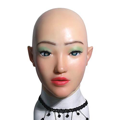 HSNC Crossdresser Realistische Silikonmaske Perücke Top Qualität Weibliche Kopfbedeckung Maskerade für Göttin Gesicht Halloween Drag Queen (Halloween-kostüme Weiblichen Top)