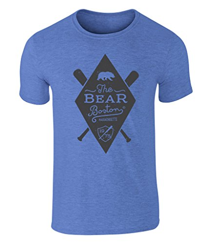 CALIFORNIA BLACK PLATE - The Bear, Bär, Boston Massachusetts Baseball 1975 Icon Vintage Style Grafik Herren T-Shirt, S - XXL Heather Royal