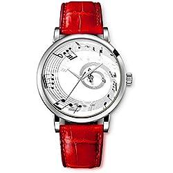 iCreat Damen Analog Armbanduhr Rot echte Leather Schnalle Schönes Zifferblatt mit Musik Note Kreis Schwarz Weiß