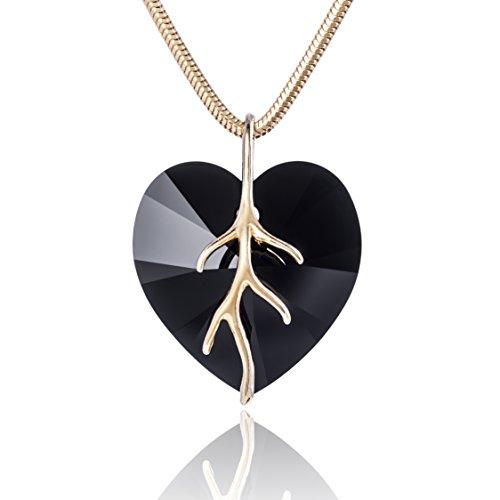 LillyMarie Damen Kette Silber 925 vergoldet original Swarovski Elements Herz schwarz Schmuck Etui Geburtstag Geschenke für Freundin