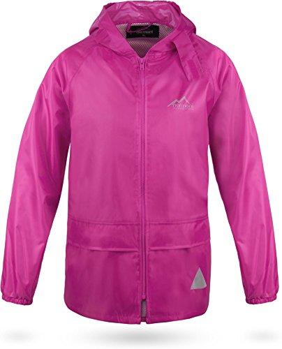 39f673c8606995 normani OUTDOOR SPORTS Kinder wasserdichte Unisex Regenjacke Regenmantel  mit Kapuze und 3M Reflektoren Farbe Pink Größe
