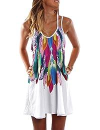 Kinikiss Sexy Vestido de Mujer Vestidos de La Honda para Playa Vacaciones con Estampada Floral Vestido