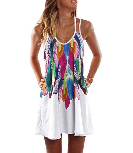 Kinikiss Strandkleid Damen Casual Partykleid Sommerkleid Sexy Boho Kleid Frauen Ärmellos Blusenkleider Kurz Minikleid