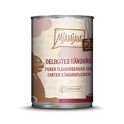 MjAMjAM - Premium Nassfutter für Katzen - purer Fleischgenuss - zartes Känguru pur, 1er Pack (1 x 400 g), getreidefrei mit extra viel Fleisch