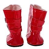 perfeclan Riemenschnalle Stiefel Schuhe Für 18 'American / / OG Doll - Rot, wie beschrieben