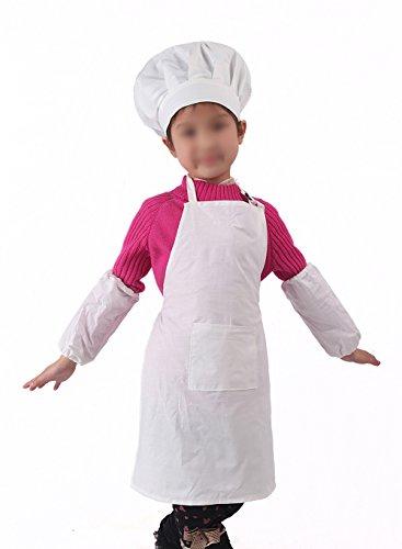 Westeng Bäcker Kinder Schürzen Voll einstellbar Größe Weiß Schürzen (Eins zu eins Verkauf) (Männliche Schürze Kochen)
