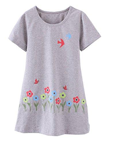 ABClothing Mädchen Schmetterling Pyjamas PJS Shortie Kleid Langes Hemd 6-7 Jahre Grau (Puppe Mädchen Und Nachthemd)