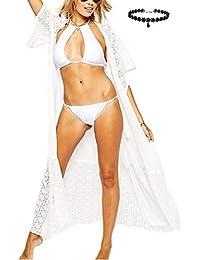 a0e819e20d35f Womens Sexy Bohemian Printed Long Beachwear Cover up Lace Chiffon Kimono  Cardigan Shirt Top Maxi Top Summer Swimwear Bikini…
