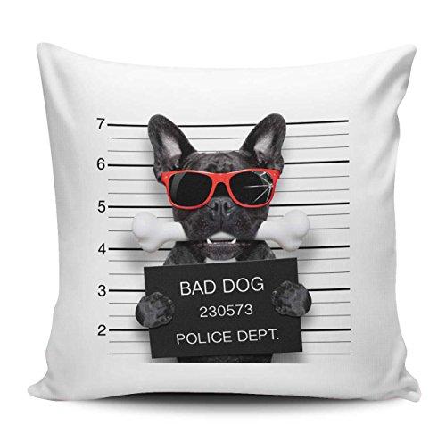 Kissenhülle/Kissenbezug 40x40cm - Motiv: Französische Bulldogge mit Sonnenbrille und Knochen Polizeifoto| 048
