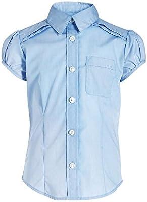next Niña Júnior Blusa Manga Corta Farol Camiseta Con Botones Camisa Elegante (3-16 años)