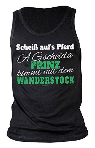Herren Tank Top für Bergsteiger - Scheiß aufs Pferd, a gscheida Prinz kimmt mit dem Wanderstock - Geschenk - Muskelshirt - Oberteil - shirt - schwarz Schwarz