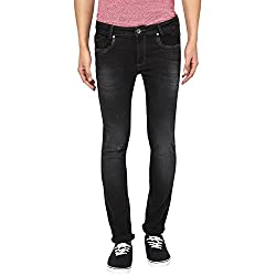 Mufti Mens Black Low Rise Super Slim Fit Jeans (34)